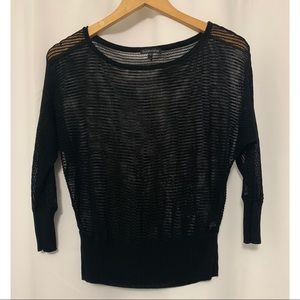 Eileen Fisher Black Knit Mesh Sweater Size Small